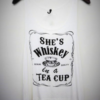 Sleeveless She's Whiskey in a TEA CUP Graphic Top (more colors)
