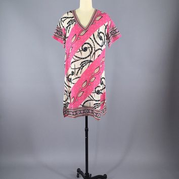 Kaftan Dress / Vintage Indian Cotton Sari / Pink Swim Coverup Tunic
