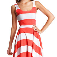 Charlotte Russe - Coral Stripe Tank Dress