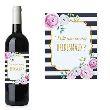 Gold glitter will you be my bridesmaid or maid of honor stickers for mini champagne bottles asking bridesmaids bridal shower gift 2x3 inches