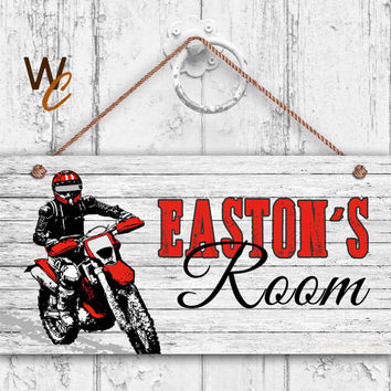 "Dirt Bike Sign, Rustic Sports Room Sign, Personalized Sign, Kid's Name, Kids Door Sign, Nursery Art, 5"" x 10"" Sign, Biker, Made To Order"