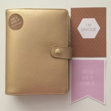 ♡ Kikki K LIMITED EDITION Medium Personal GOLD Leather Agenda Planner! SOLD OUT