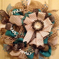 Burlap and natural DecoMesh Spring and Summer wreath, burlap wreath, summer wreath, door wreath, turquoise burlap wreath, home decor, burlap