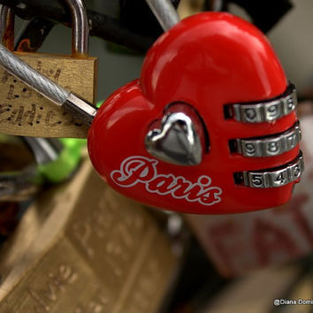 Paris Heart Lock  Paris France  8x10  Fine Art Print Photography -Red Heart, Locks on Bridge, Red Heart, Love Paris, Home Decor
