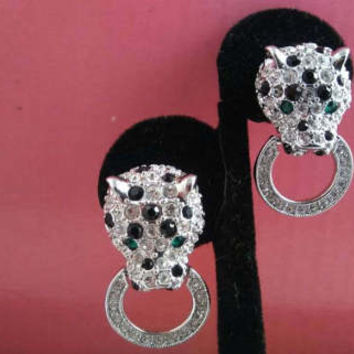 Vintage Signed KJL Kenneth Jay Lane Rhinestone Panther Door Knocker Earrings