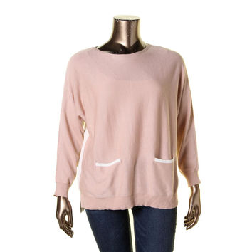 Vince Camuto Womens Modal BLend Panel Pullover Sweater