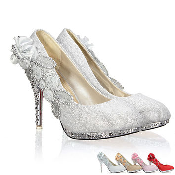 High Heels 10CM Wedding Bridal Evening Party Cinderella Shoes Women'S Pumps Fake Crystal Rose Flower 2016 New Fashion Shoes