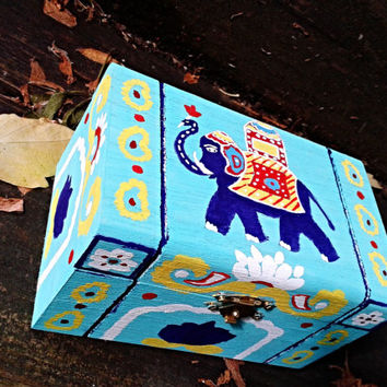 Jewelry Box, Keepsake Box, Wooden Box, Indian style Elephant and Lotus Design, Diwali Gift, Christmas Gift, Rectangular Box, Multipurpose