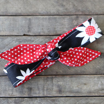 Reversible Skinny Headband Black with Large Flowers over Red with White Polka Dots Hair band Fabric Teen Women Hair Accessory