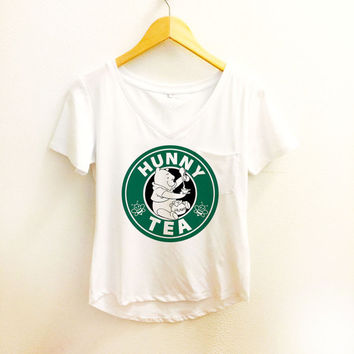 Hunny Tea Starbucks Shirt - Winnie the Pooh Pocket Tee Sleeve Women - Disney Tumblr S, M, L, XL