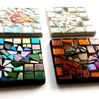 Mosaic Art Coasters of the Four Seasons, Spring, Summer, Fall, and Winter
