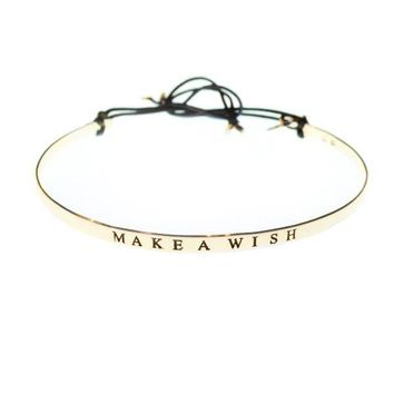 Flat tied bracelet with word : MAKE A WISH | Gag&Lou
