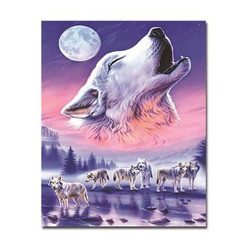 DIY Digital Oil Painting By Numbers Wolves Howl Pictures Kits Hand Paint Coloring Animal Moonlit Night On Canvas Wall Art Decor