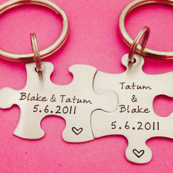 Personalized Puzzle Piece Key chain set Hand Stamped with Names and Date Customizable Anniversary BFF Gift