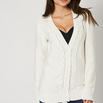 Pure Cotton Knit Long Cardigan With Front Buttons