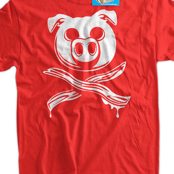 Funny Bacon T-Shirt - Pig Bacon Crossbones shirt tee pork pig meat candy mens ladies youth