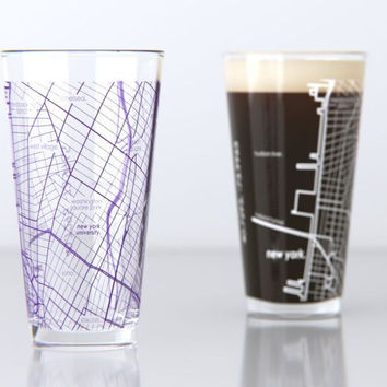 New York, NY - NYU - College Town Map Pint Glass Set