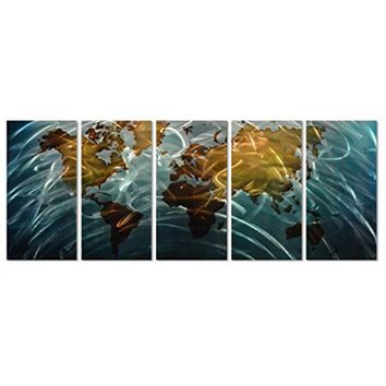World Map original handcrafted 3D decor metal wall art 5 panel