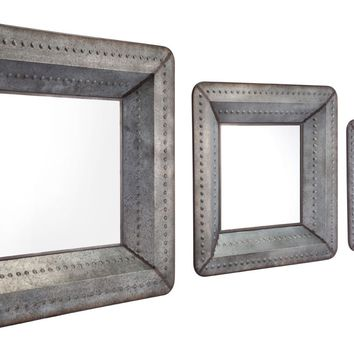 Set Of 3 Industrial Chic Mirrors Antique