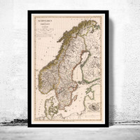 Old Vintage Map of Norway Sweden and Denmark Scandinavia 1824