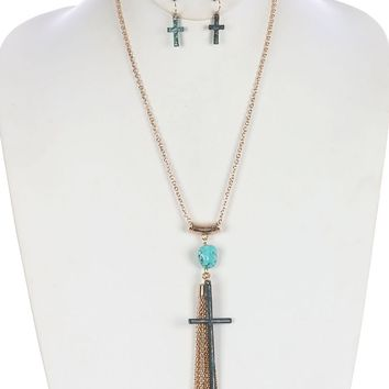 Turquoise Aged Finish Metal Cross Pendant Necklace And Earring Set