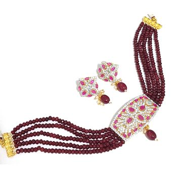Ruby crystal bead with one gram gold rectangle pendant collar necklace and earring set