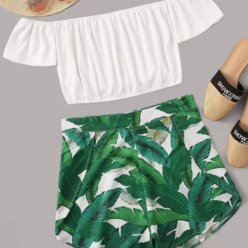 Solid Bardot Top With Tropical Print Shorts