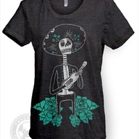 Day of the Dead Sugar Skull Mariachi American Apparel TR301 Tri-Blend T Shirt