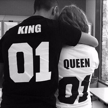 King Queen Funny Letter Print Couples Leisure T-shirt