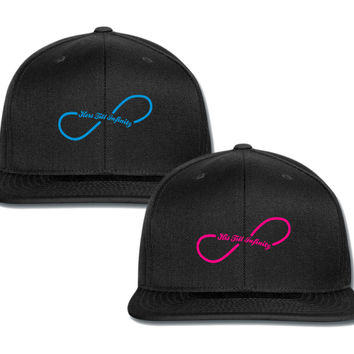 his till infinity hers til infinity couple matching snapback cap