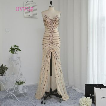 HVVLF Luxurious 2018 Prom Dresses Mermaid Sweetheart Champagne Slit Beaded Crystals Prom Gown Evening Dresses Evening Gown