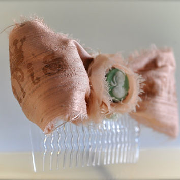 Hair Comb | Vintage Pink Bow with a Mint Green Cameo