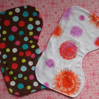 Set of 2 Burp Cloths Baby Girl Polka Dots Bursts Flannel