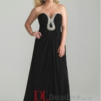 A-Line Sweetheart Chiffon Black Plus Size Prom Dress/Evening Gowns With Beading VTC242