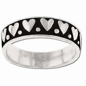 925 Sterling Silver Oxidized Hearts In A Row Band Ring