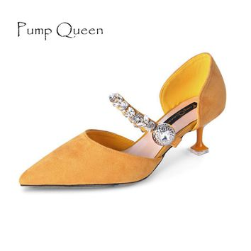 Mary Jane Women Pumps Fashion Shoes for Woman Elegant Pointed Party Heels Med Heel Des