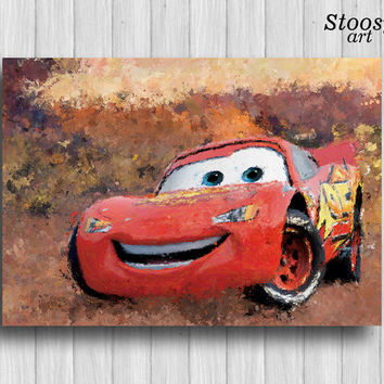 Lightning Mcqueen print disney cars poster kids decor