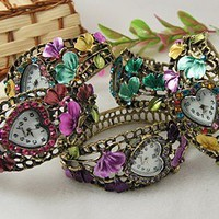 Alloy Rhinestone Watch Bangles, Mixed Color