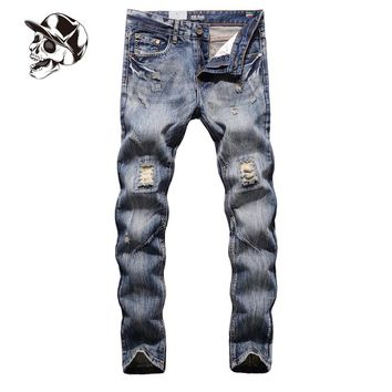 Fashion High Quality Jeans Men Slim Fit Blue Denim Jeans Pants Original Brand Clothing Men`s Destroyed Jeans 29-40 G604