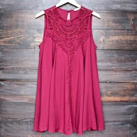 boho crochet lace dress - burgundy