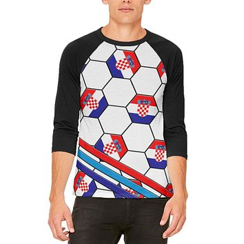 World Cup Croatia Soccer Ball Mens Raglan T Shirt