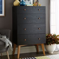 Tall Storage 5-Drawer Dresser - Black