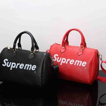 """Louis Vutitton×Supreme"" Women Fashion Personality Logo Letter Single Shoulder Messenger Bag Women Boston Pillow Handbag"