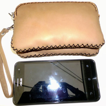 Tan leather 2 pocket pouch purse