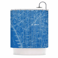 "Catherine Holcombe ""Los Angeles Streets"" Blue Map Shower Curtain"