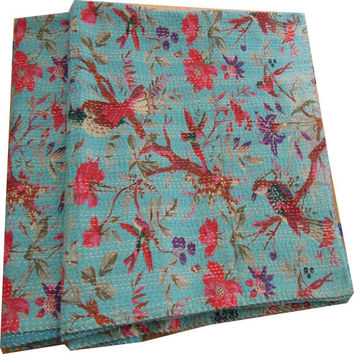 Sari Indian Quilt -Kantha Quilt Quilted Bedspreads,Throws,Ralli,Gudari Handmade Tapestery REVERSIBLE Bedding