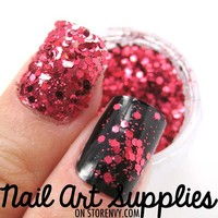 nailartsupplies | Berry Pink - Bright Pink Red Raw Nail Glitter Mix 3.5 Grams | Online Store Powered by Storenvy