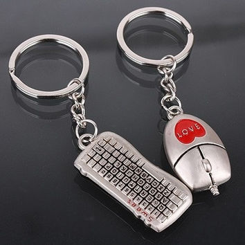Valentine's Day Lover Gift Mouse Keyboard Couple Keychain Keyring 1 Pair Keyfob
