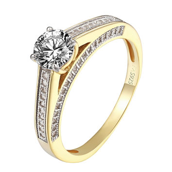 Solitaire Engagement Promise Ring Womens 925 Silver Cubic Zirconia 14k Gold Tone