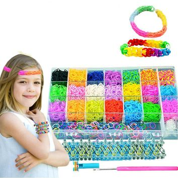 Big size 4600pcs rainbow elastic loom bracelet weaving machine band ribbon knitted crafts for children gift,